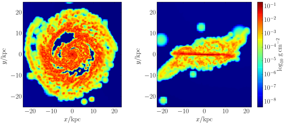 A Smooth Particle Hydrodynamics (SPH) simulation of the gas in a galactic disk as simulated by the GalDyn group. Credit: A. Clarke 2015.